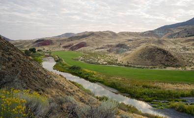 River Flows Through Farmland John Day National Monument Oregon