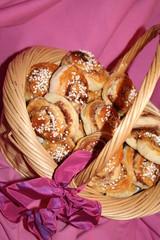 Cinnamon buns in basket