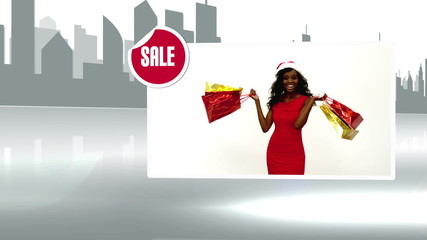 Sale advertisement with woman holding shopping bag
