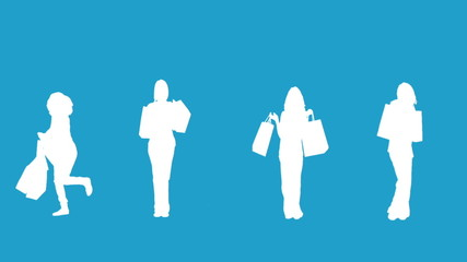 Silhouettes of women with her shopping on blue background