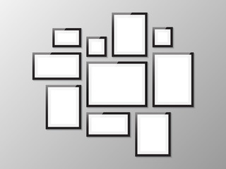 Black picture frame, vector illustration