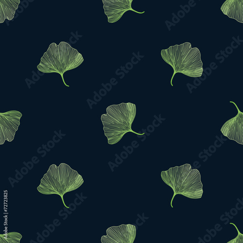 Ginkgo biloba leaves on black background, seamless pattern © kovalto1