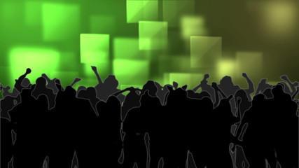 Dancing crowd with glowing squares of green light moving