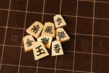 Backboard and pieces of Shogi