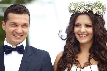 Bride and groom on their wedding day