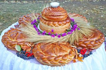 Large loaf of bread and salt