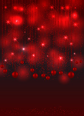 Red christmas background with christmas balls, stars and shines