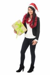 Nikolausfrau hält Geschenk