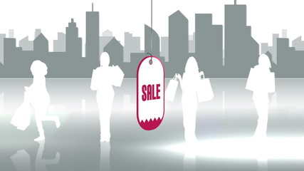 Sale advertisement with silhouette in a cityscape