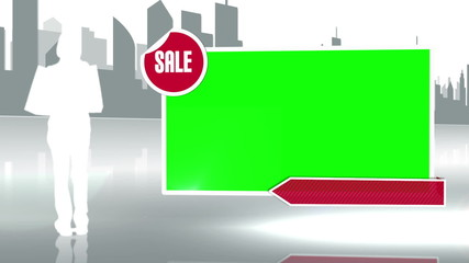 Woman silhouette holding bag next to a screen in chroma key