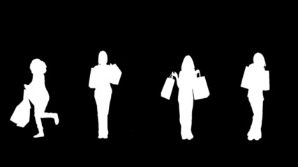 Silhouettes of women with her shopping on black background