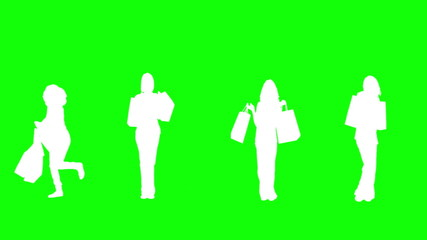 Silhouettes of women with her shopping on green background