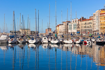 View on Old Port of Gijon and Yachts