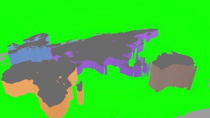 3d world map on green background