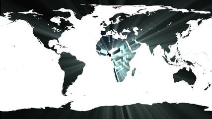 World map against shimmering background