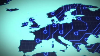Circuit board europe on blue background