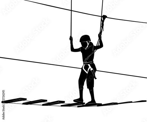 children in adventure park rope ladder - 72726245