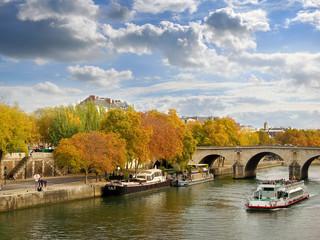 The river Seine in autumn, Paris France