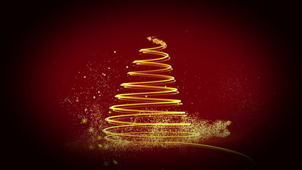 Golden light forming christmas tree design with greeting