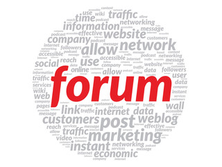 Red Forum concept in word tag cloud isolated on white background