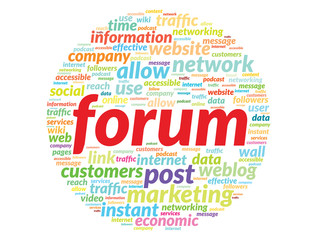 Forum concept in word tag cloud isolated on white background