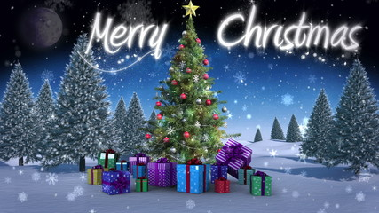 Merry Christmas message appearing in snowy landscape