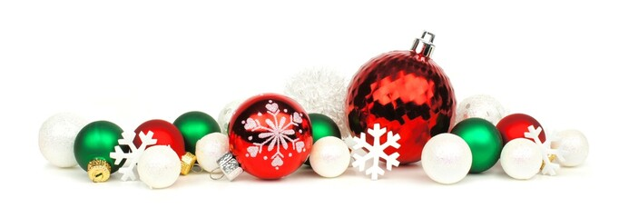 Christmas border of red, green and white ornaments