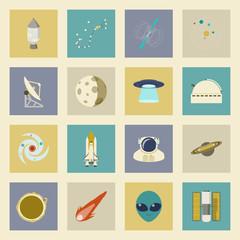 Astronautics and Space flat icons set