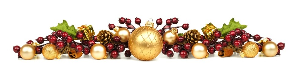 Christmas border of gold ornaments and berry branches
