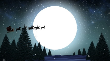 Santa flying over fir tree forest