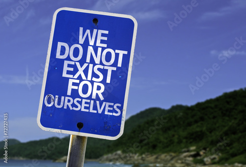 Poster We Do Not Exist for Ourselves sign with a beach