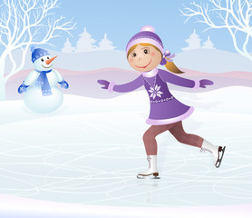 Figure skating little girl and snowball