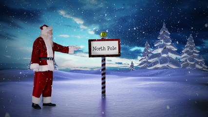 Santa standing in the north pole
