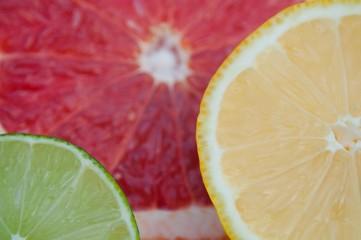 Fresh tropical fruit slices - lemon, lime, red grapefruit