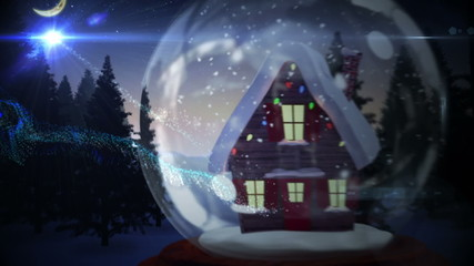 Cute christmas house inside snow globe with magic light