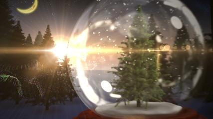 Christmas tree inside snow globe with magic greeting