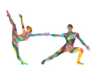 silhouette di ballerini composta da colori
