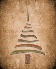 absract background with wooden christmas tree