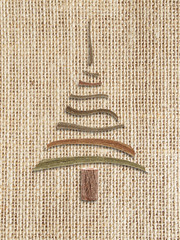 natural burlap background   with christmas tree