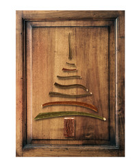 old wood  with christmas tree
