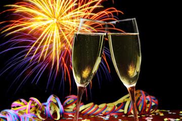 Feier mit Sekt und Feuerwerk