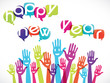 mains groupe souriant : happy new year