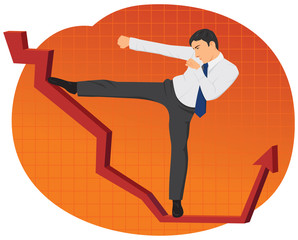 Businessman kicking a red graph arrow