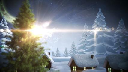 Magic light swirling around and decorating christmas tree