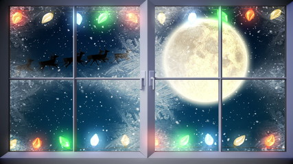 Santa flying past window with twinkling lights