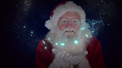 Santa blowing glitter forming christmas greeting