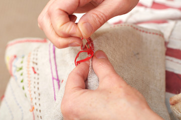 sewing with floss needle and thread