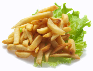 French fries on a white background, isolated.
