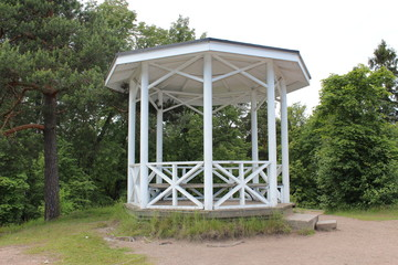 The pavilion in the Monrepo Park in Vyborg.