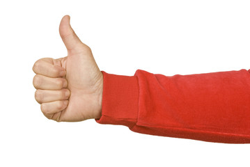 Thumbs Up With Red Sleeve